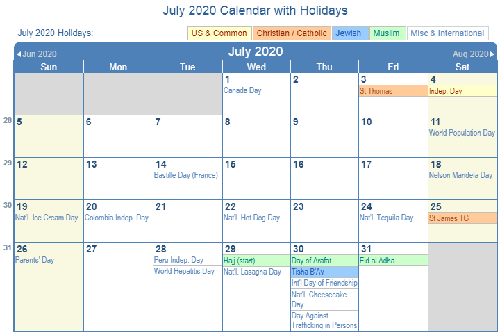 July Calendar 2020 Holidays Australia