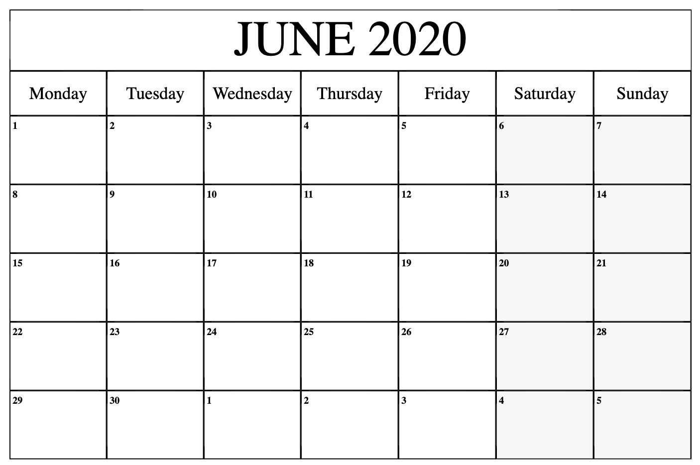 June 2020 Calendar Printable Monday