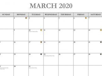 March 2020 Calendar Printable Template