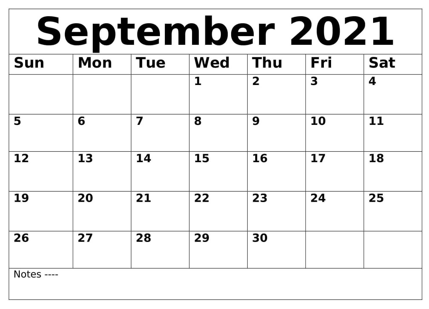 Monthly September 2021 Calendar Printable
