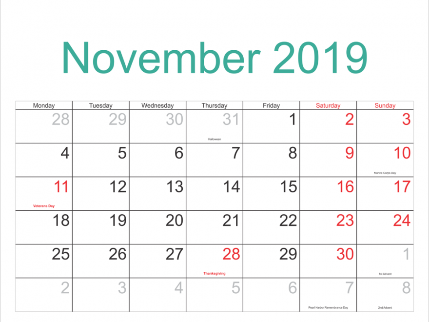 November 2019 Calendar with Holidays