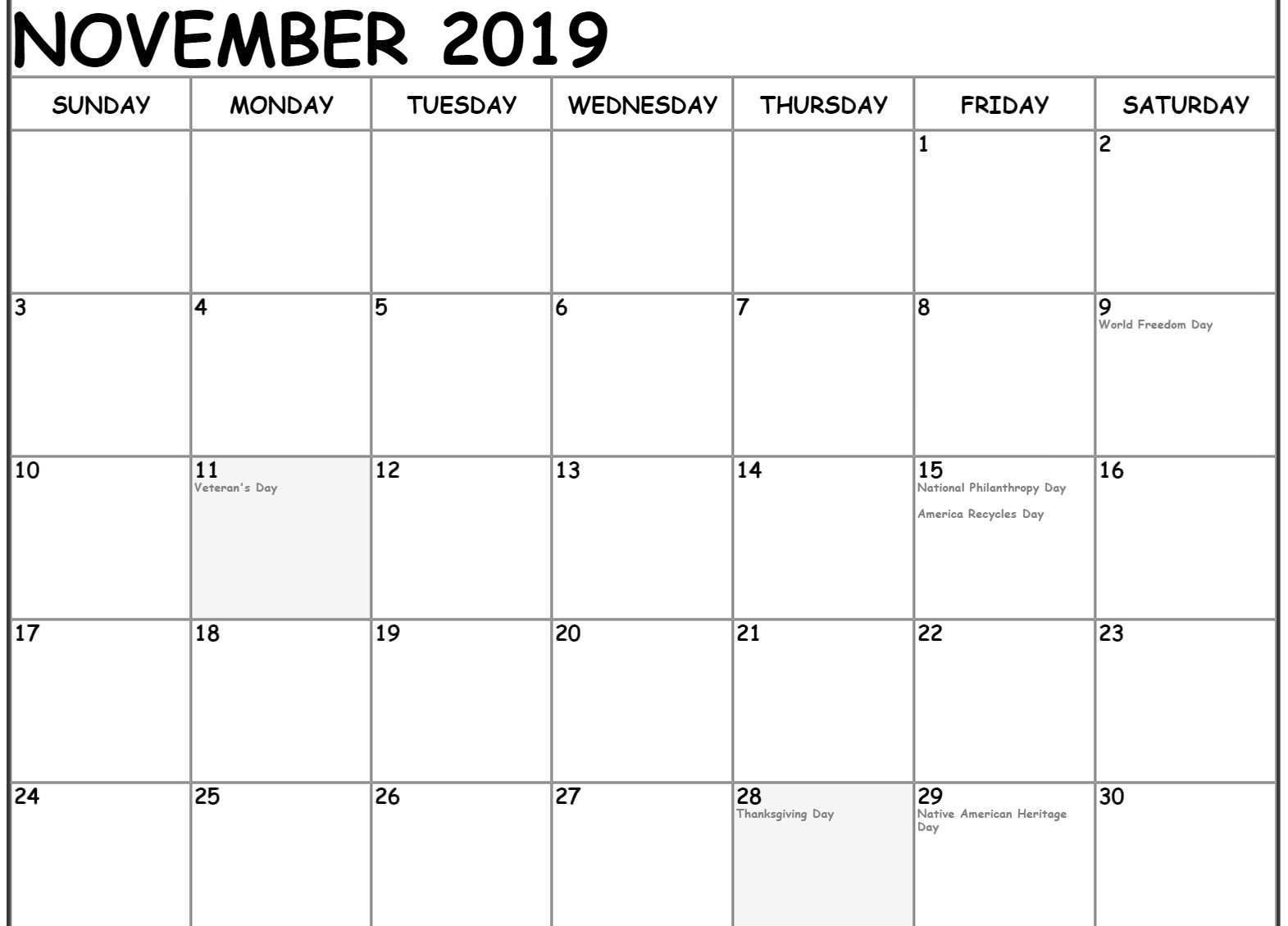 November 2019 Holidays Calendar