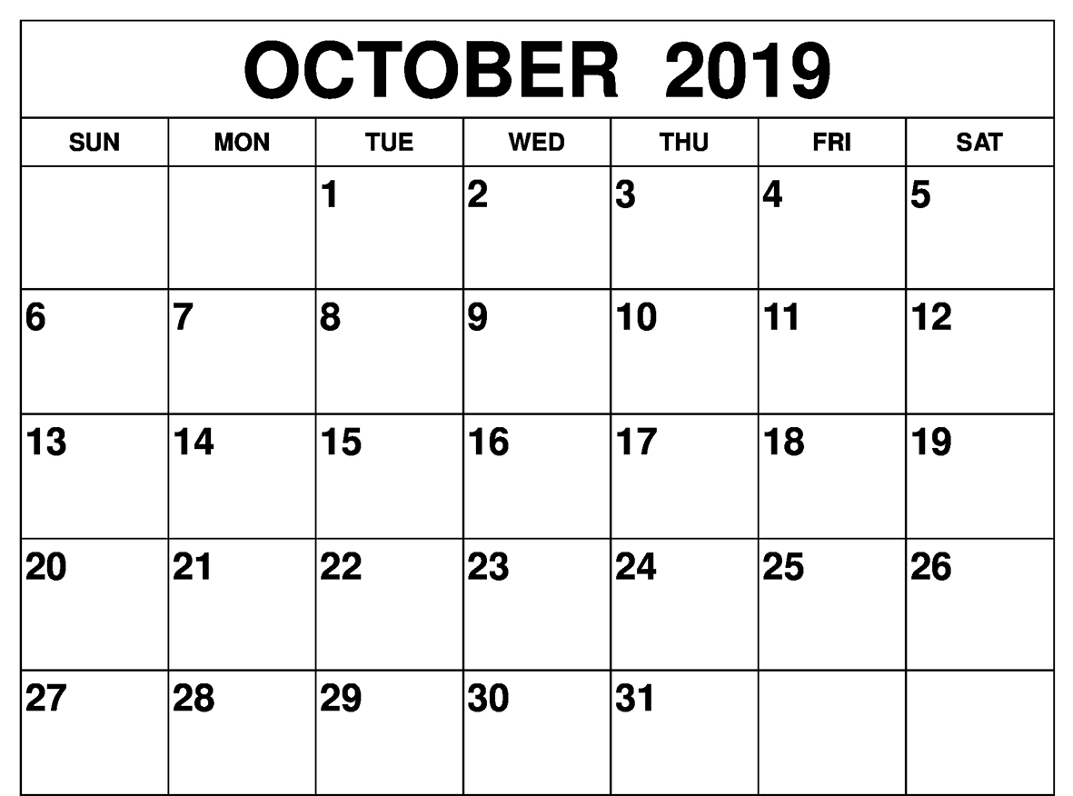 October 2019 Calendar with Holidays Printable Template