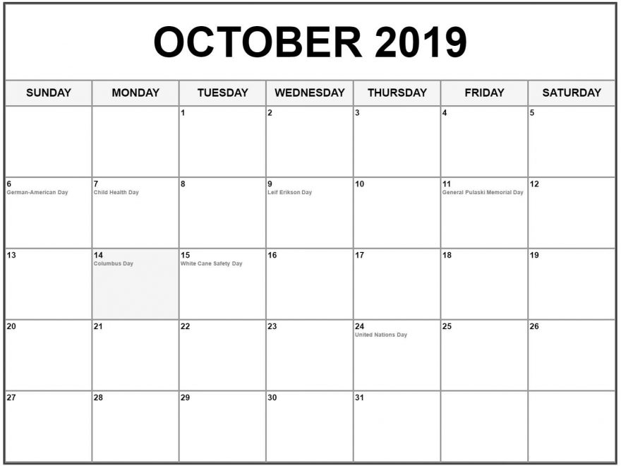 October 2019 Calendar With Holidays Monthly