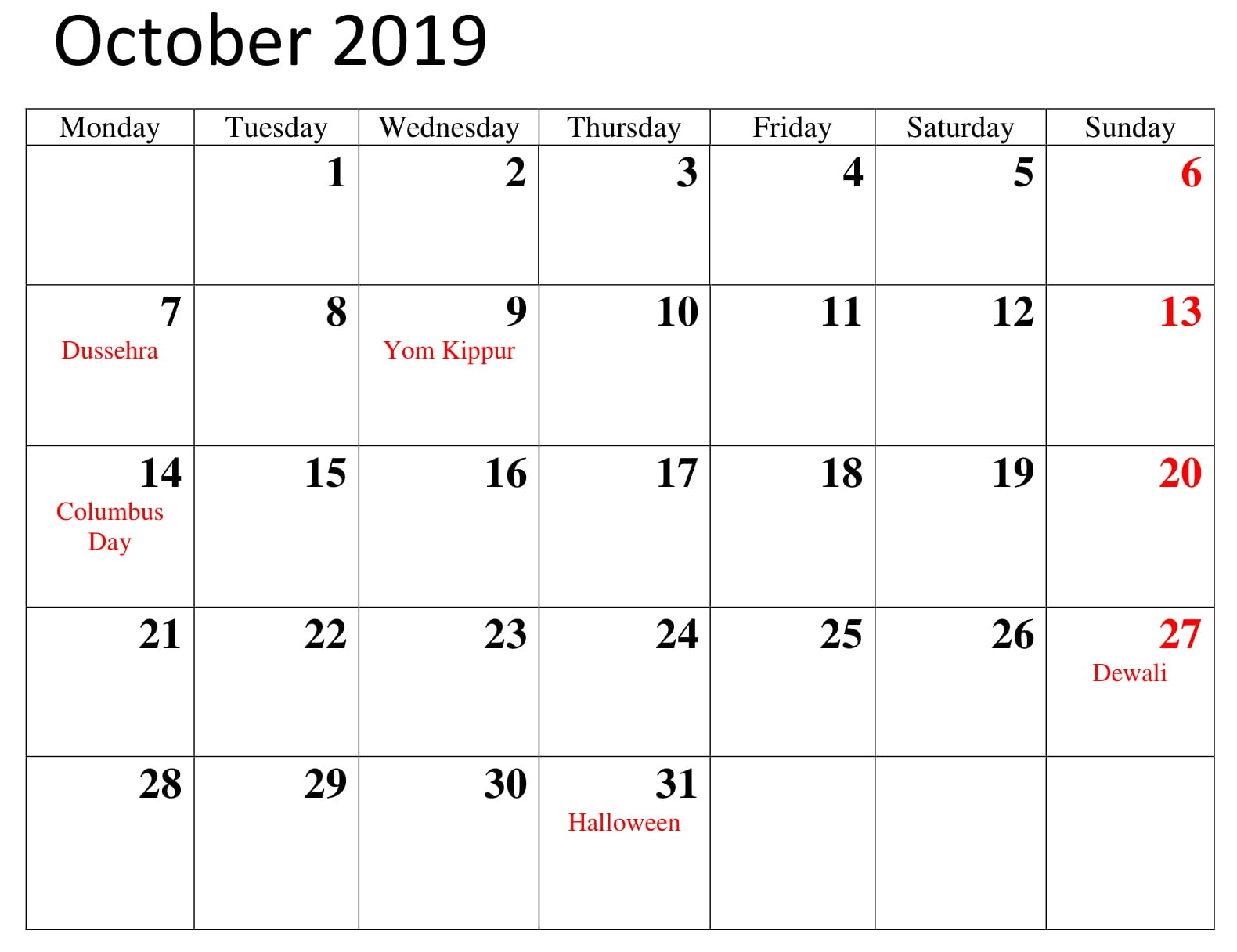 image about Calendar Printable With Holidays named Oct 2019 Calendar with Vacations Printable Template