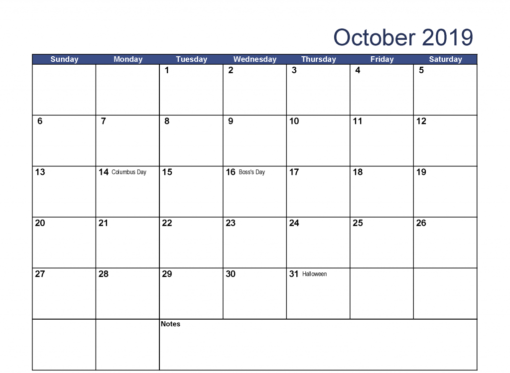 October 2019 Calendar with Holidays India