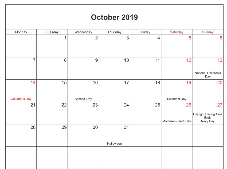 October 2019 Calendar with Holidays Template