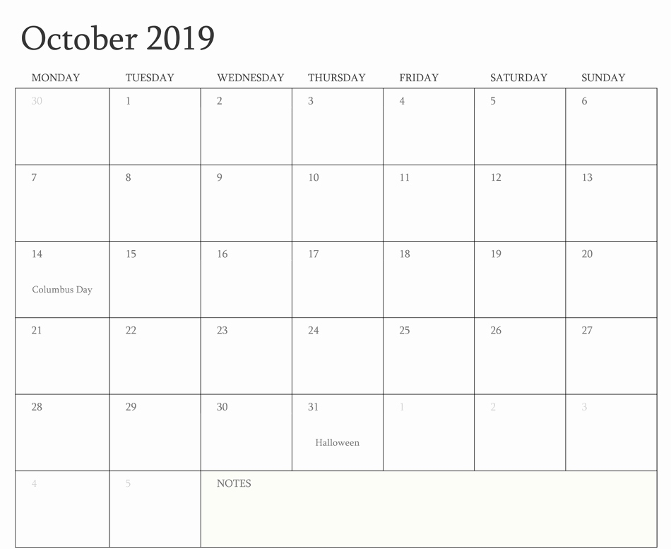 October 2019 Calendar with Holiday UK