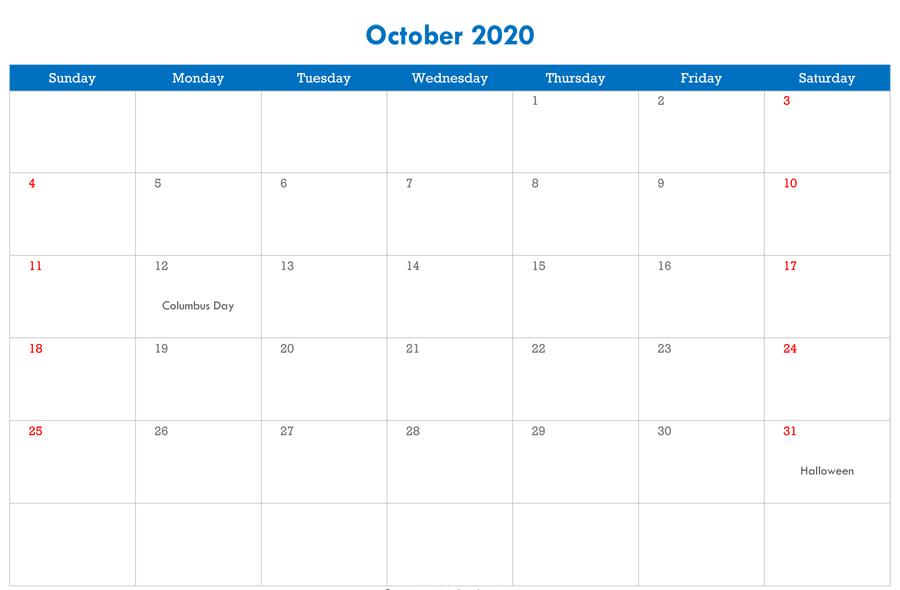 October 2020 Calendar with Holidays Canada