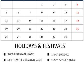 October 2020 UK Holidays Calendar