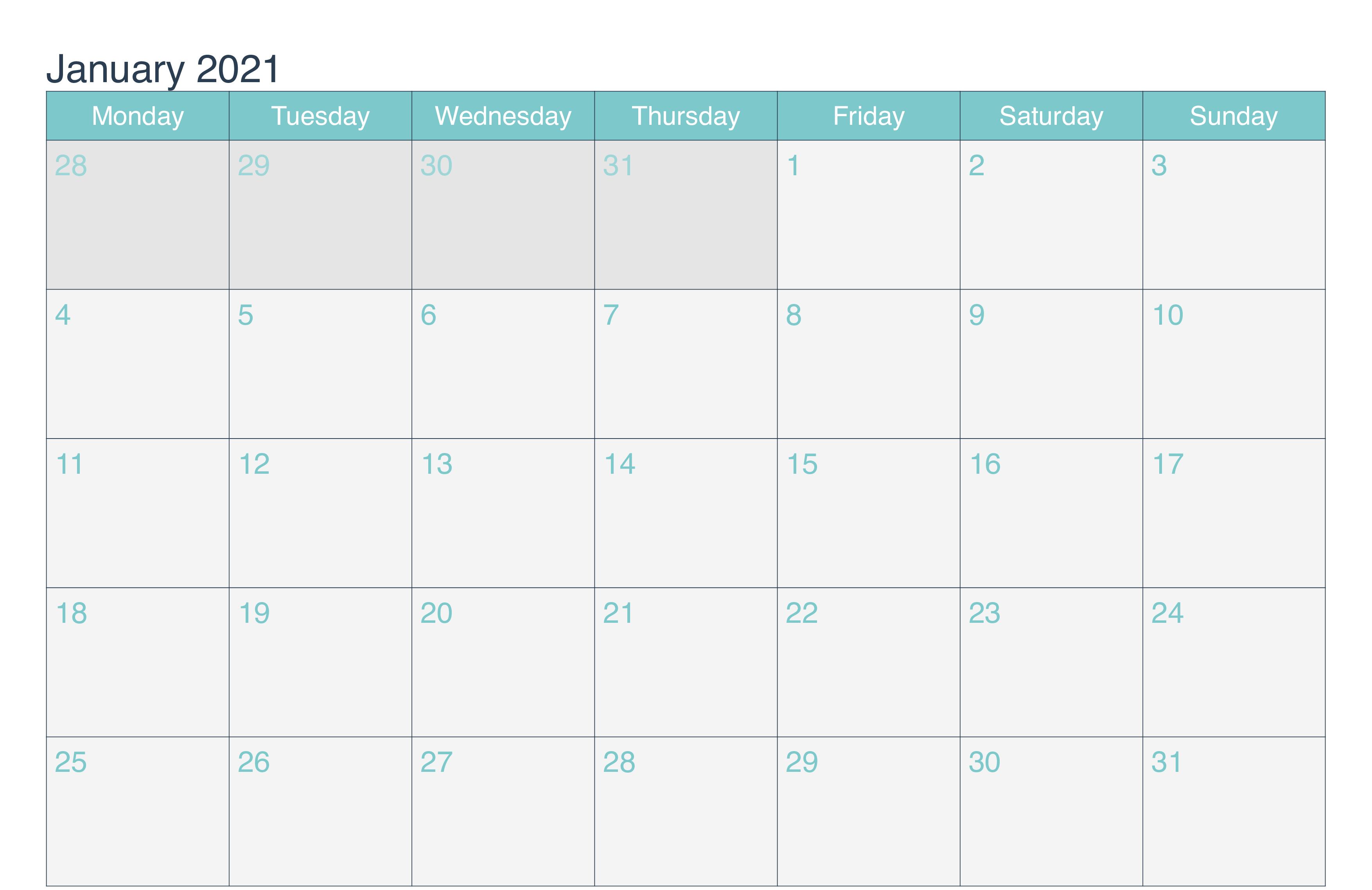 Print January 2021 Blank Calendar