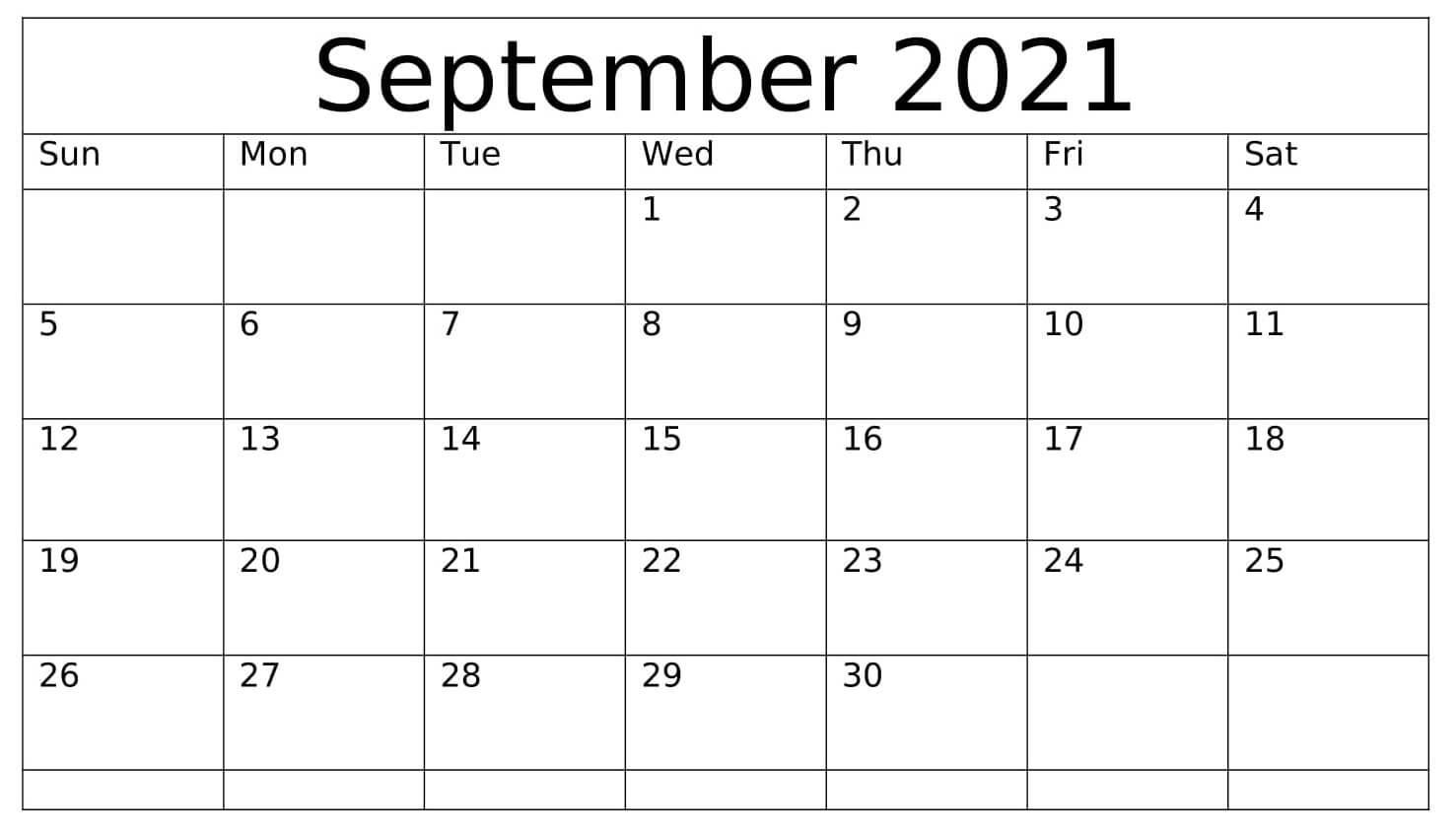 Print September 2021 Calendar Landscape