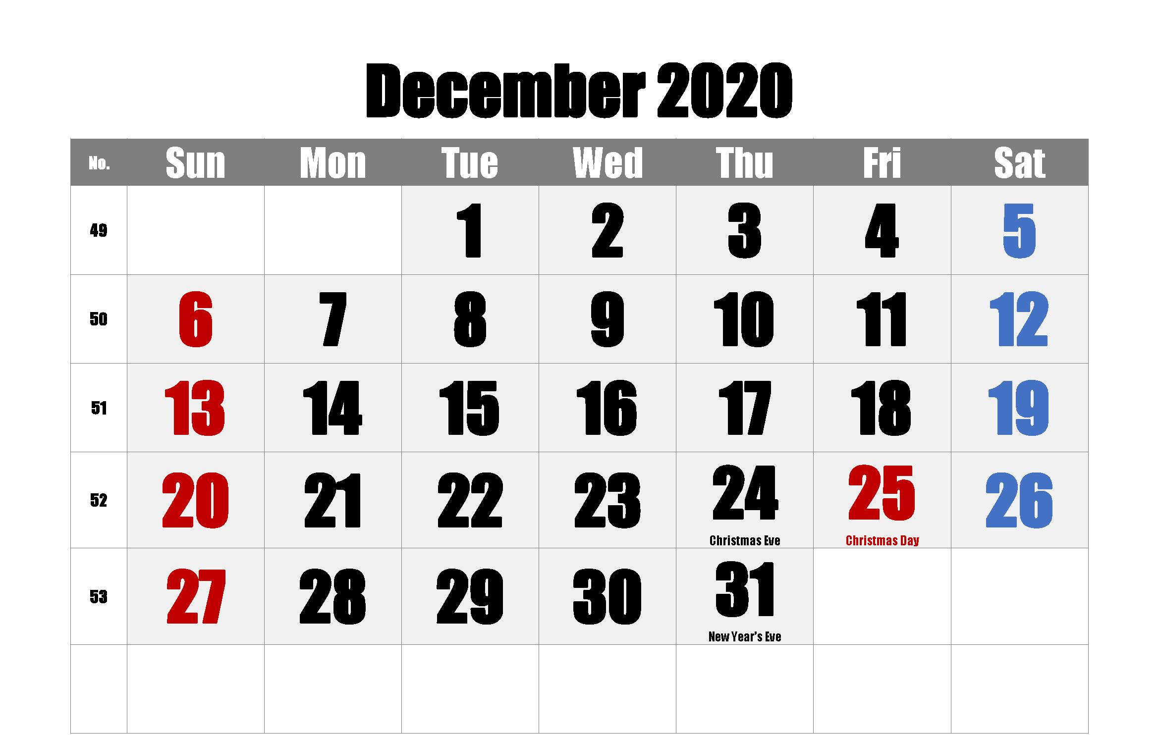 Printable December 2020 Calendar Holidays