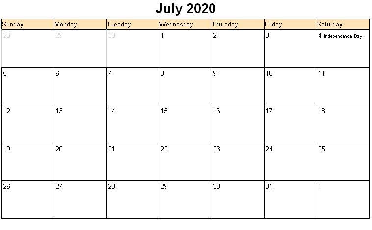 Printable July Calendar 2020
