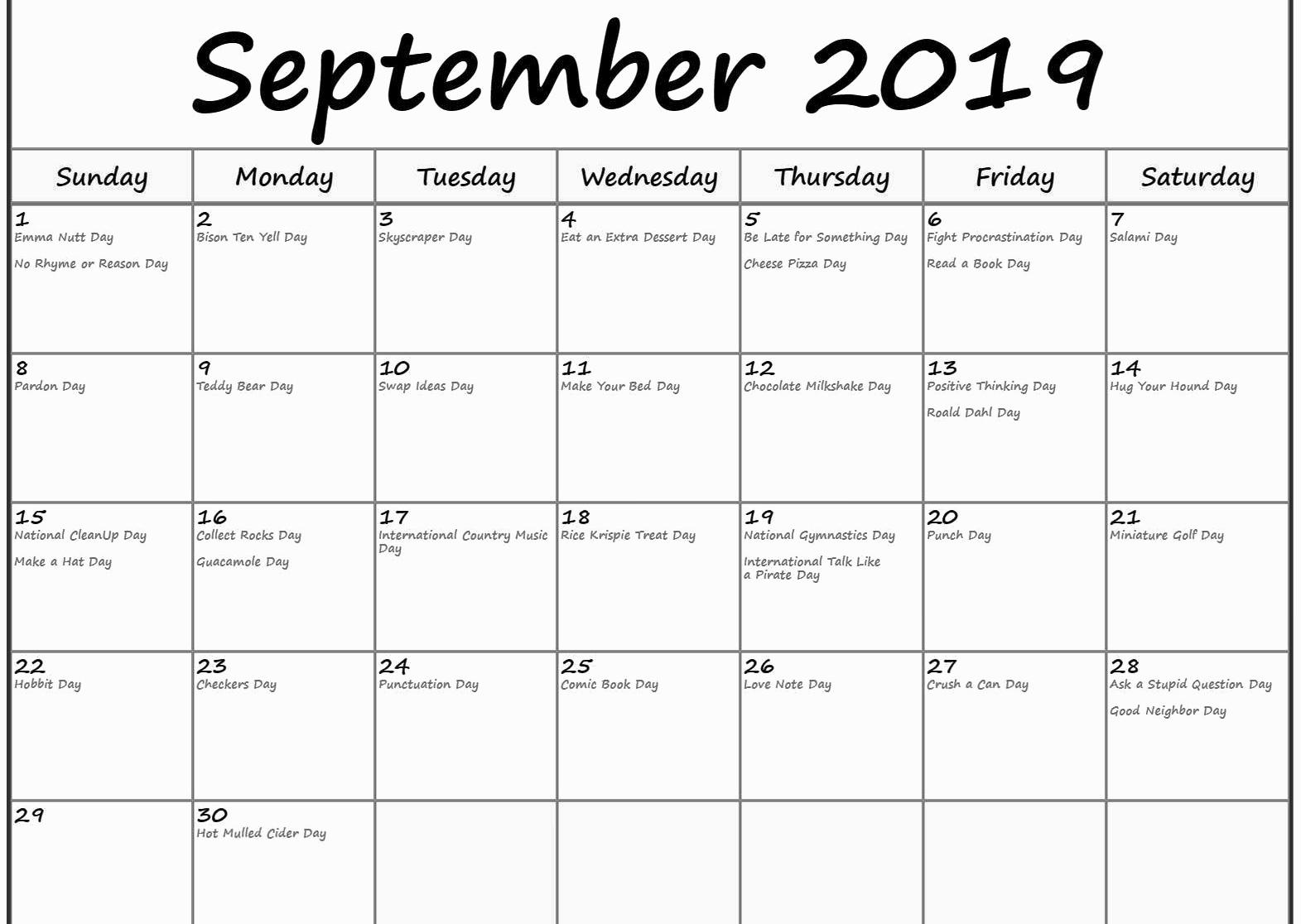 September 2019 Calendar Holidays