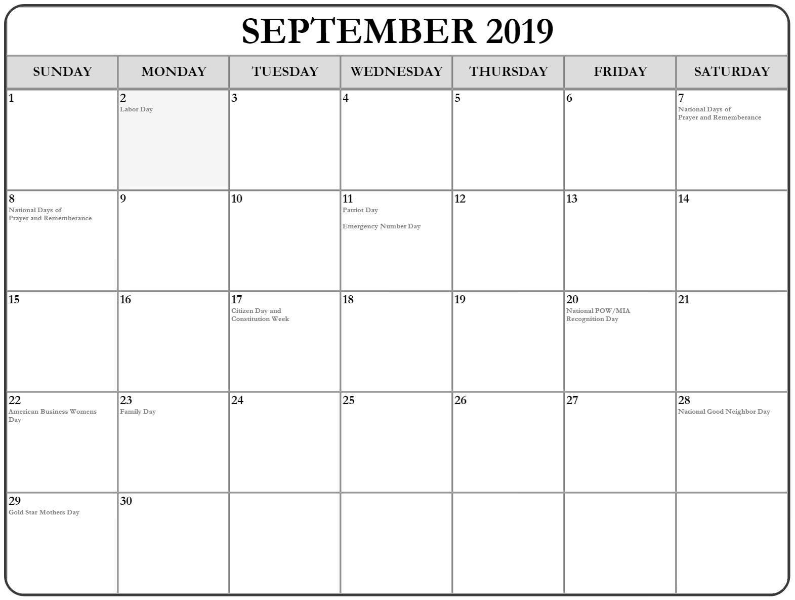 September 2019 Calendar with Holidays Printable