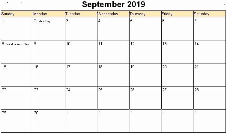 September 2019 Calendar with Holidays Canada