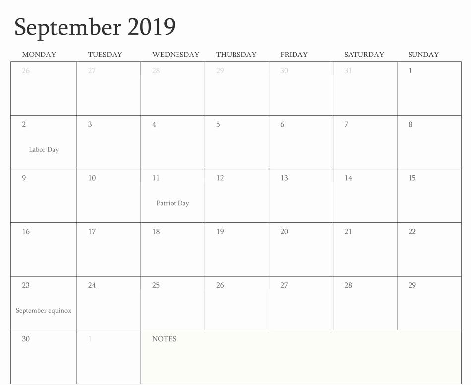 September 2019 Calendar with Holidays UK