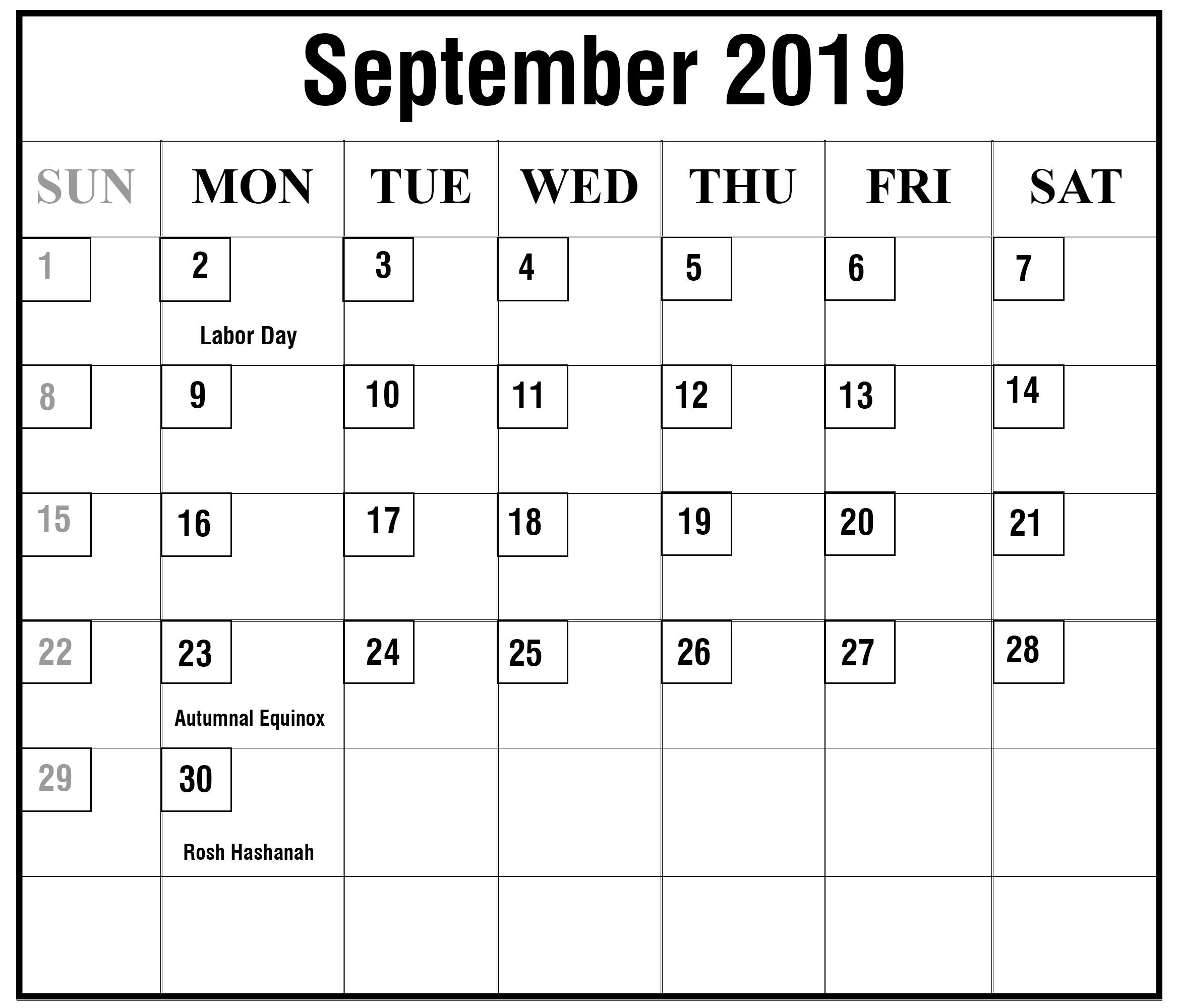 September 2019 Calendar with Holidays US