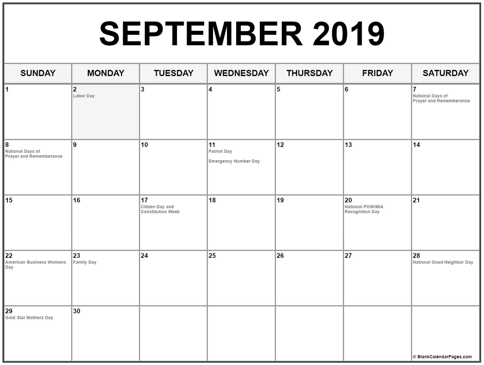 September 2019 Calendar US Holidays