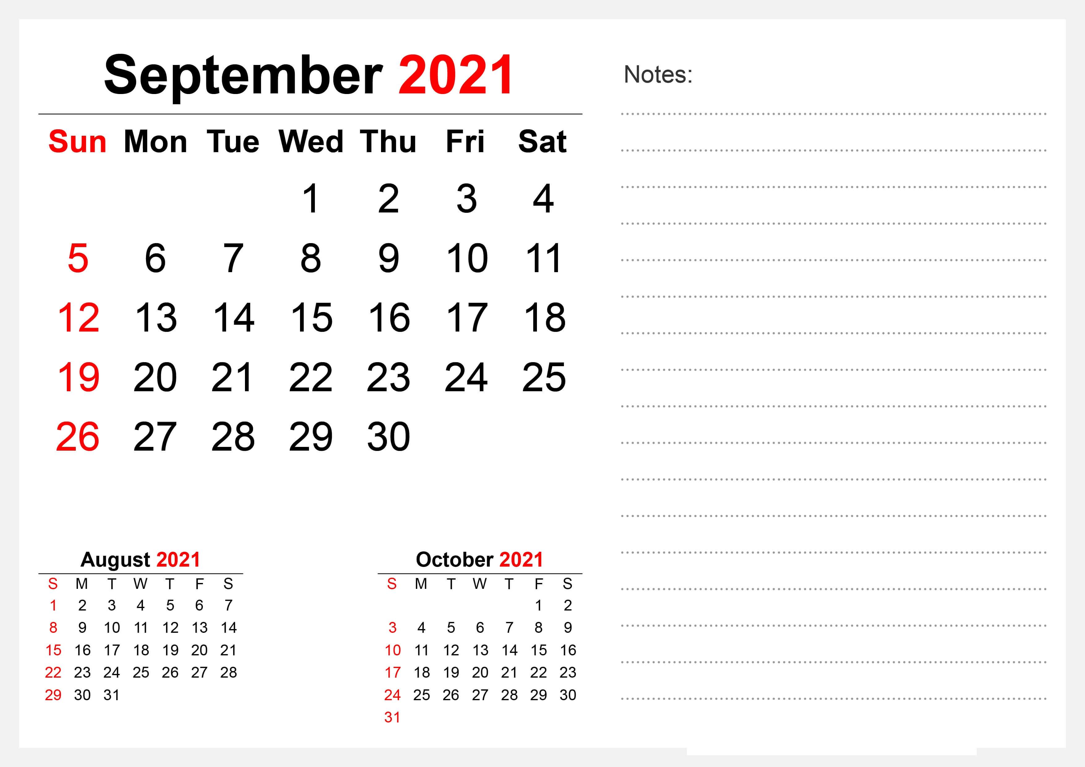 September 2021 Calendar with Notes