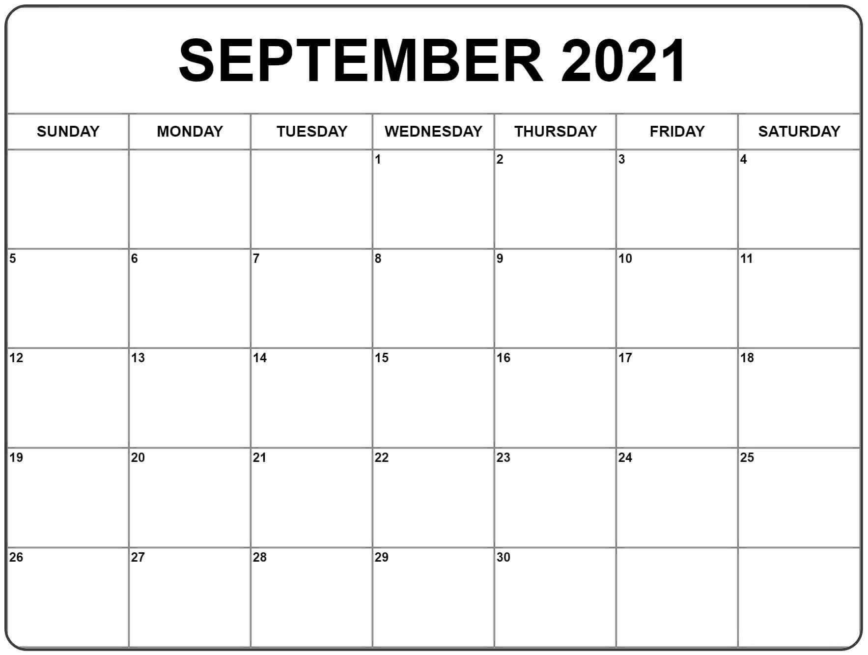 September 2021 Printable Calendar Template