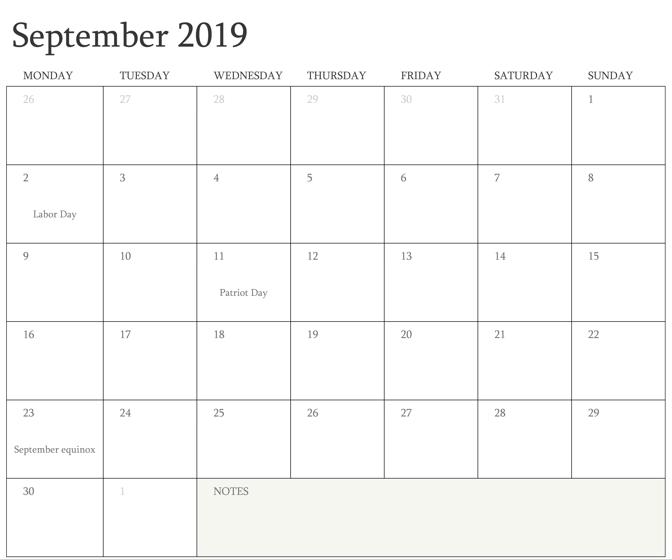 September Calendar 2019 Holidays
