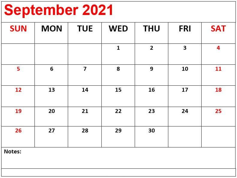 September Calendar 2021 PDF