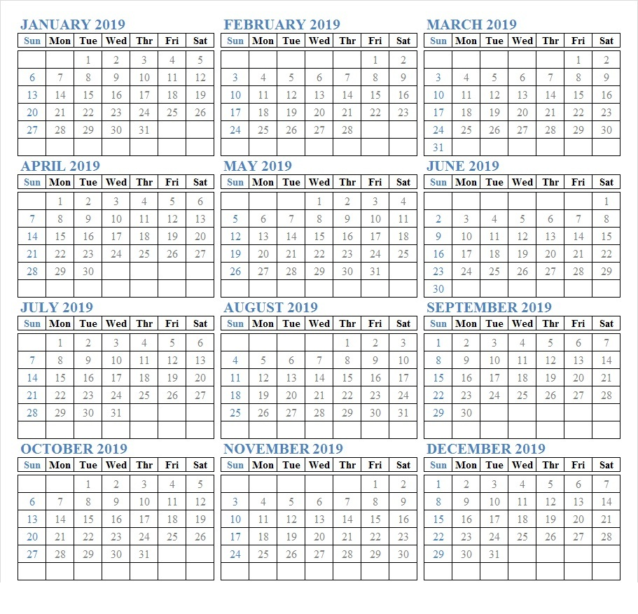 2019 Calendar Printable Free
