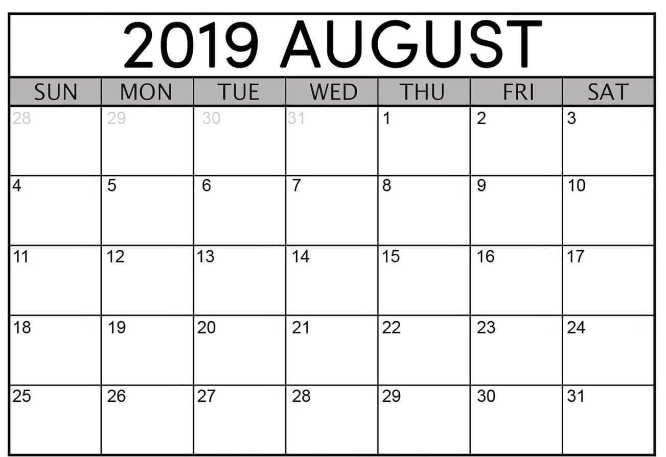 image regarding Printable Calendar Pdf identified as Editable August 2019 Calendar Weekly, Regular monthly Template