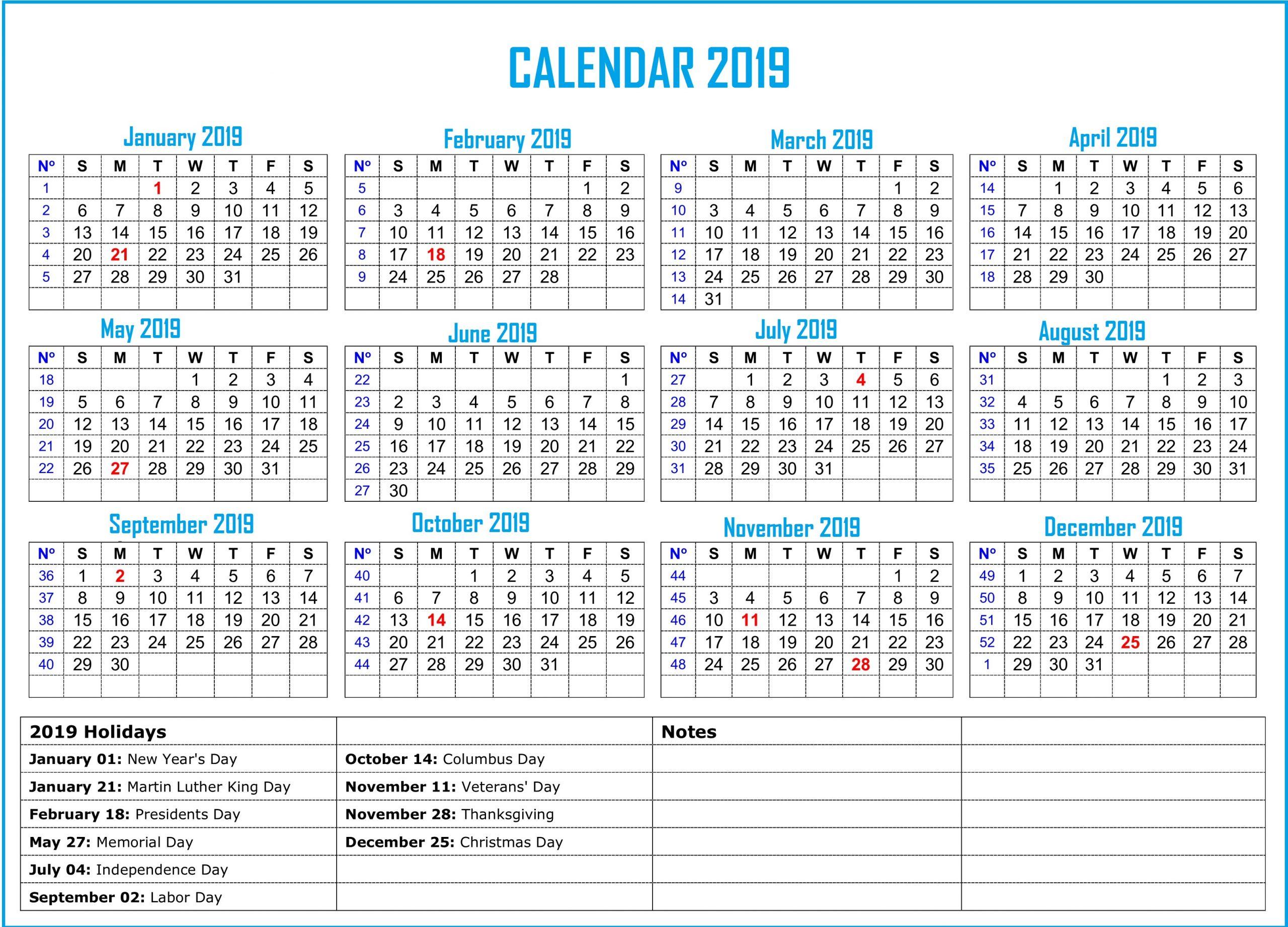 2019 Bank Holiday Calendar