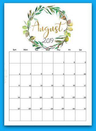 2019 Floral August Calendar