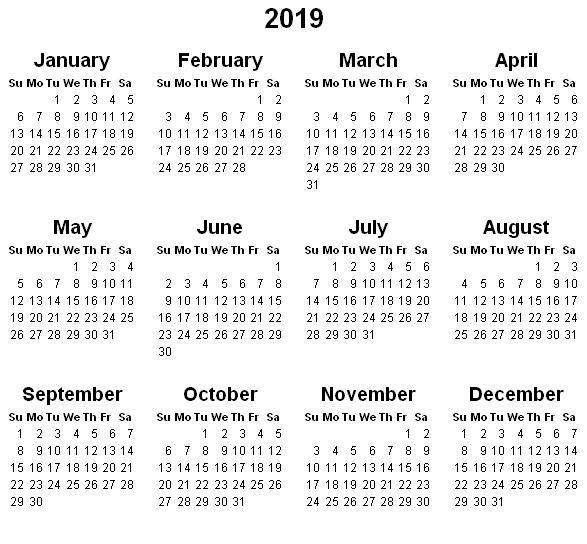 2019 Printable Calendar Templates
