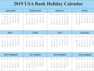 2019 USA Bank Holidays Calendar