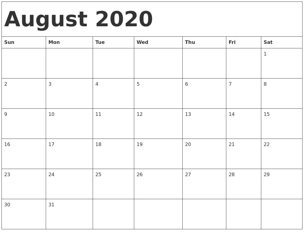 Blank Calendar August 2020.August 2020 Calendar Pdf Word Excel Printable Template