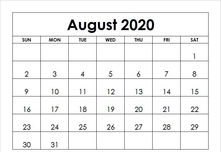 2020 August Printable Calendar