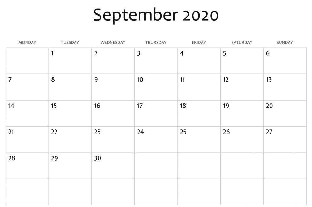 2020 September Calendar