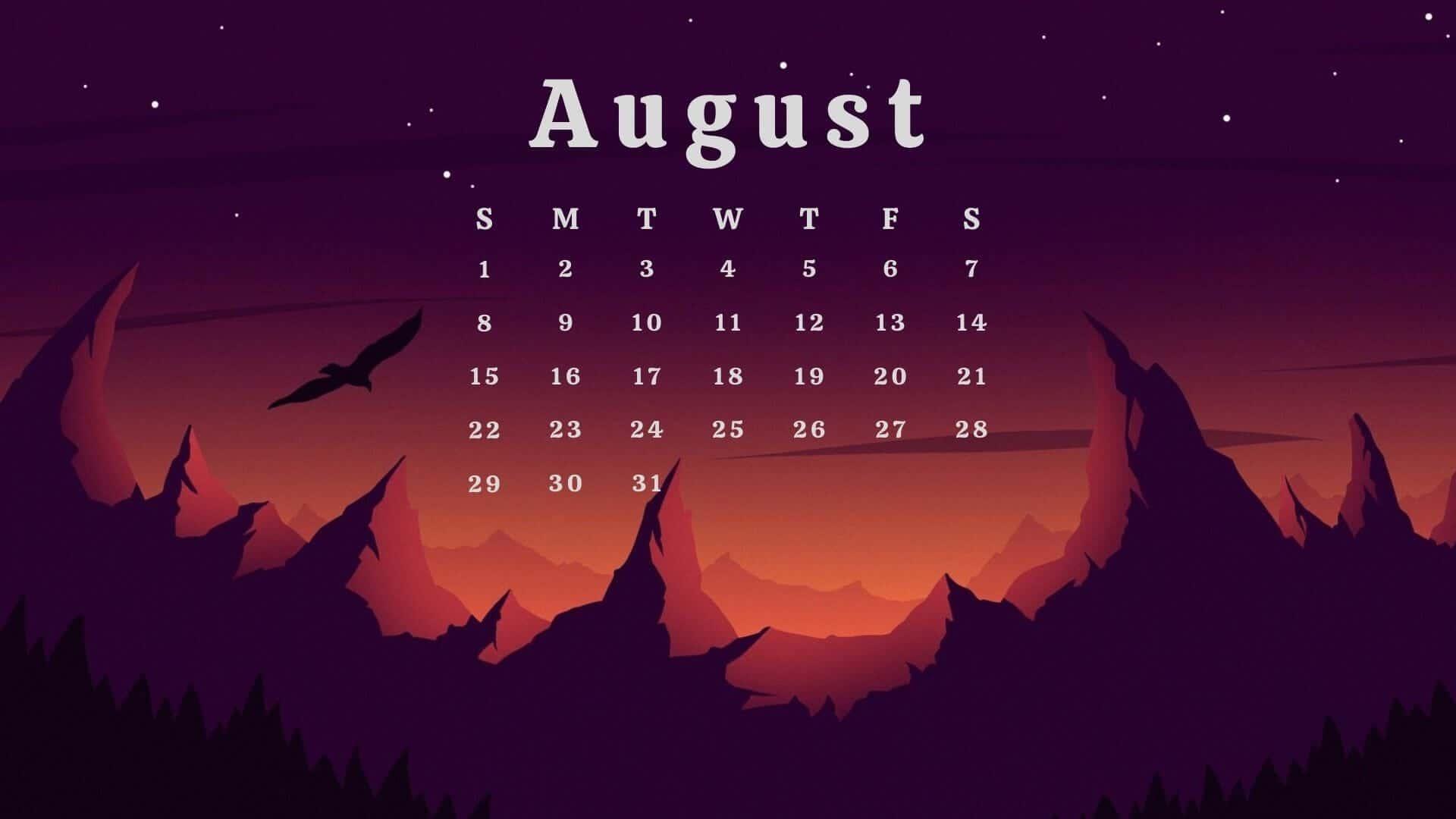 2021 August Calendar Wallpaper
