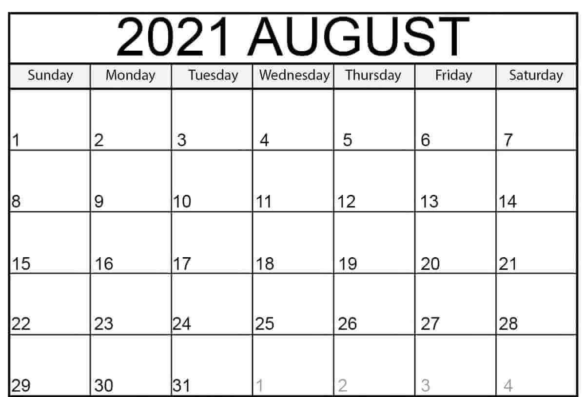 2021 August Calendar