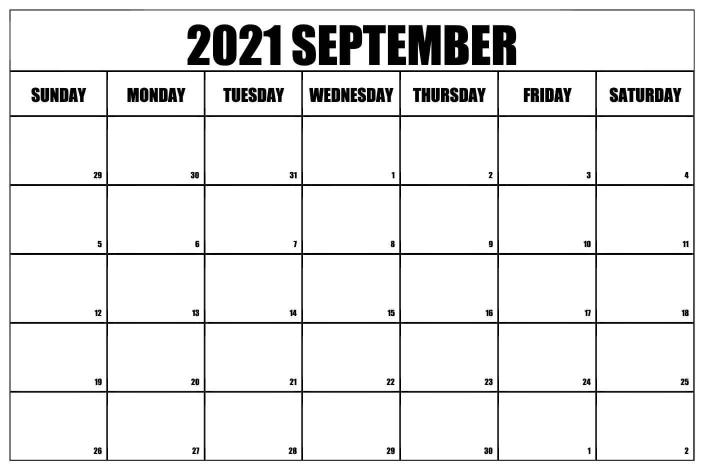 2021 September Calendar Blank