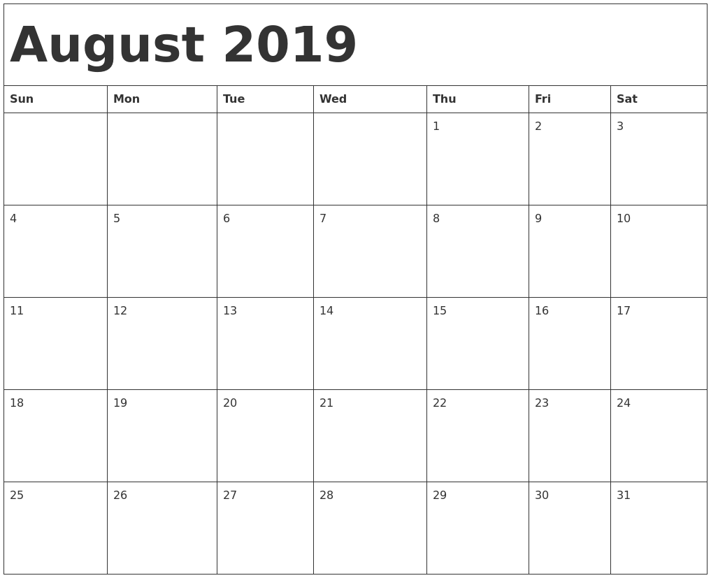 Blank August 2019 Calendar PDF, Word, Excel Template