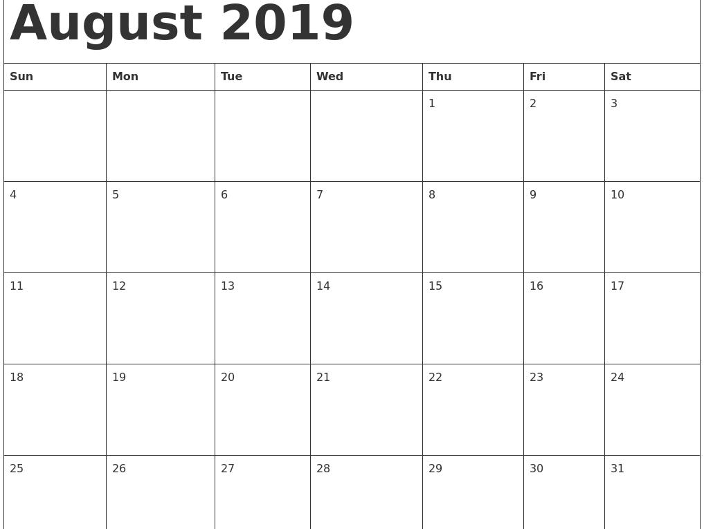 August 2019 Calendar Printable Cute