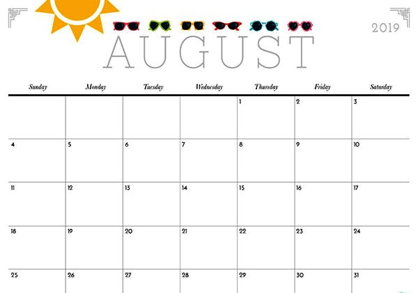 August 2019 Cute Calendar