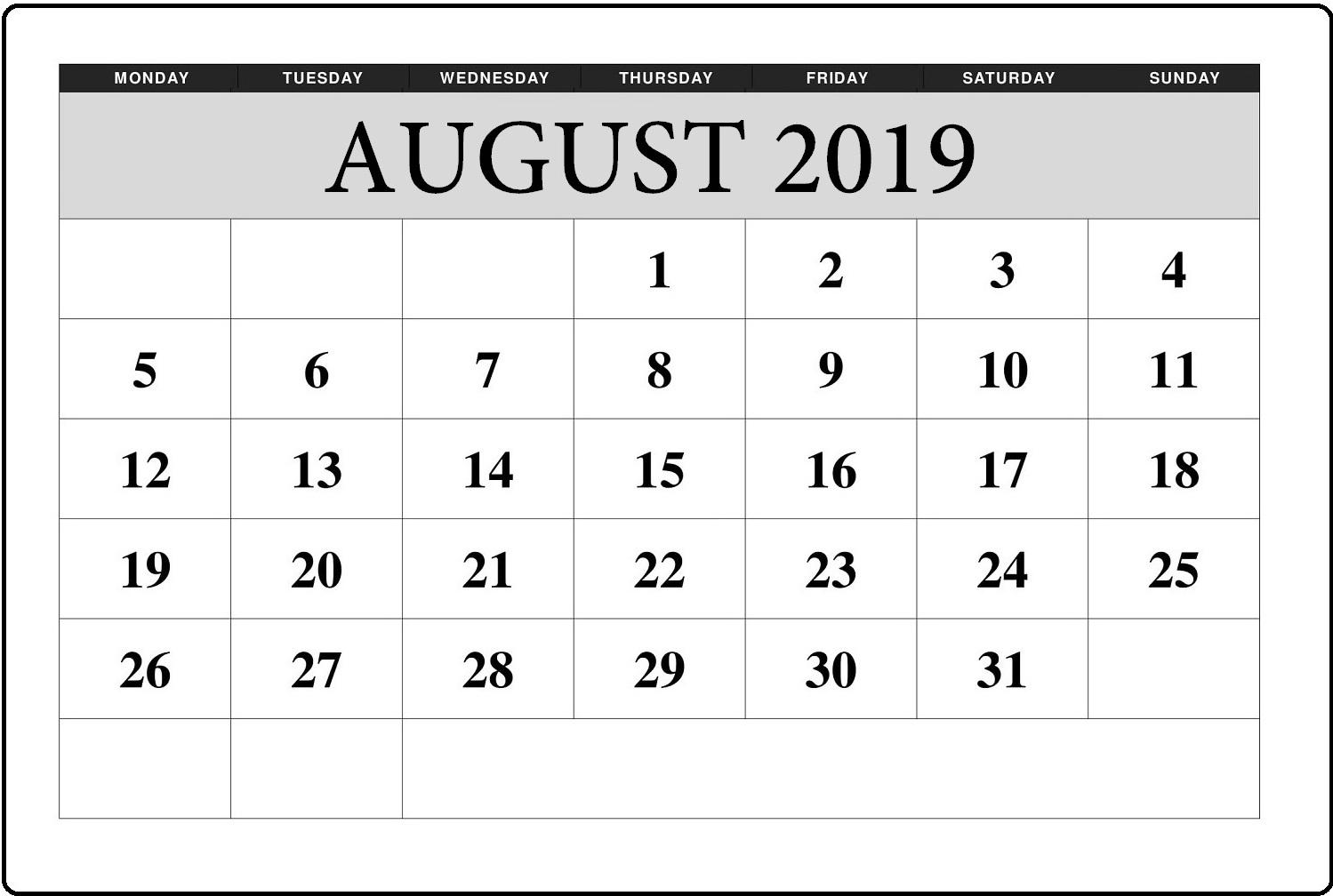 August 2019 Editable Blank Calendar