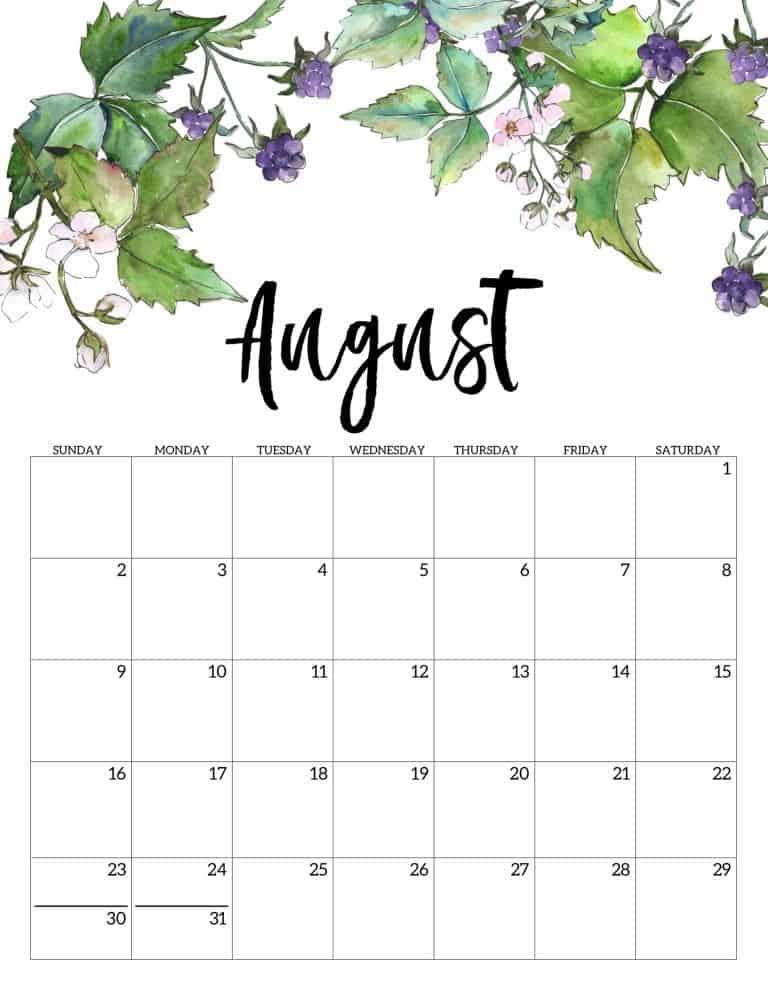 August 2020 Calendar Cute design