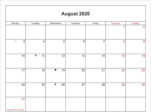 August 2020 Calendar Printable with Bank Holidays