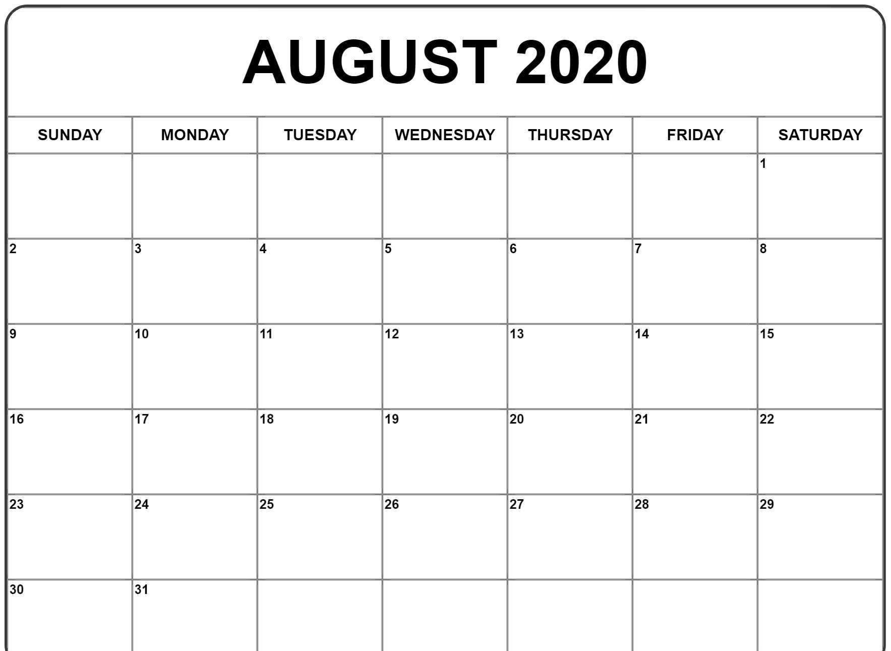 2020 Printable Calendar Word.August 2020 Calendar Pdf Word Excel Printable Template