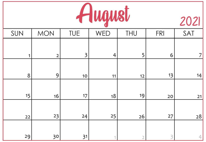 August 2021 Desk Calendar