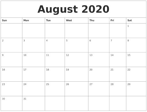 August Calendar 2020 Blank Template