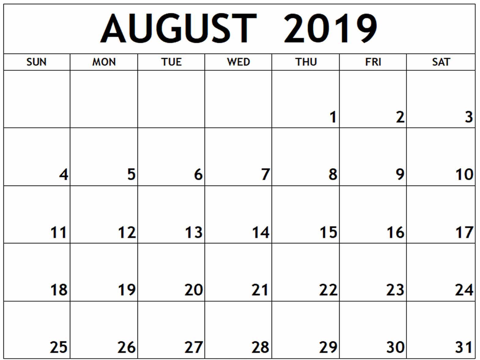 August Editable Calendar 2019